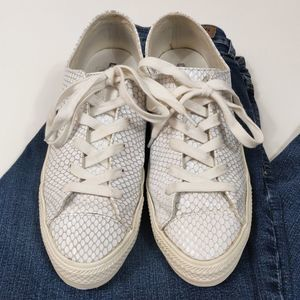 Converse white leather snakeskin textured low